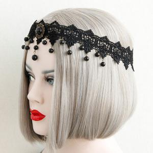 Gothic Flower Beads Lace Elastic Hairband -