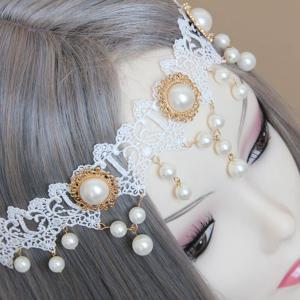 Faux Pearl Forehead Lace Hairband -
