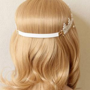 Faux Pearl Lace Forehead Elastic Hairband -