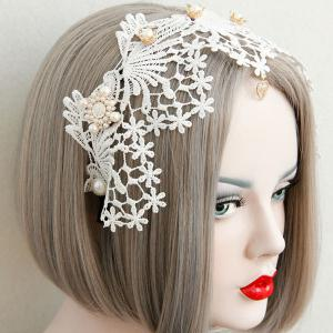 Faux Pearl Flower Heart Love Lace Hairband -