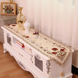 Home Decor Embroidered Satin Hollow Out Table Runner -