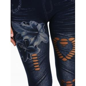 Floral Heart Printed Cutout See Through Jeggings -