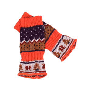 Christmas Tree Decorated Crochet Knit Fingerless Gloves -