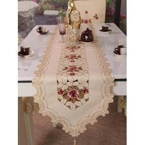 Home Decor Satin Embroidered Table Runner -