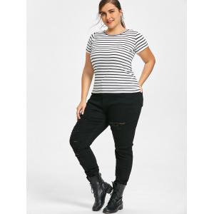 Plus Size Slim High Waisted Ripped Jeans -