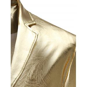Single Breasted Lapel Metallic Color Blazer -
