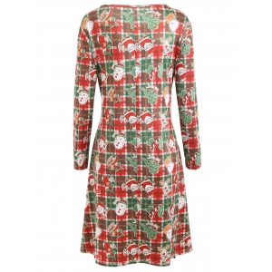 Christmas Plus Size Plaid  Printed Dress with Sleeves -