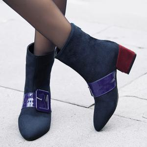 Buckle Strap Pointed Toe Boots -