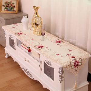 Embroidered Satin Jacquard Home Decorative Table Runner -