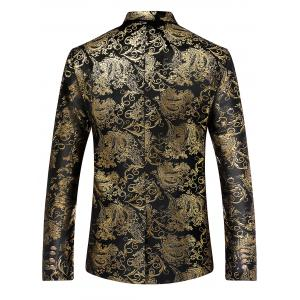 Single Breasted Retro Pattern Velveteen Blazer -