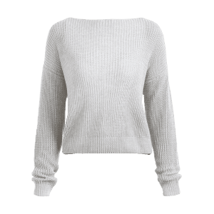 Backless Boat Neck Sweater -