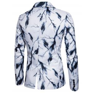 One Button Lightning Feather Print Blazer -