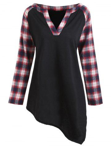 Store Plus Size Asymmetric Plaid Raglan Sleeve T-shirt