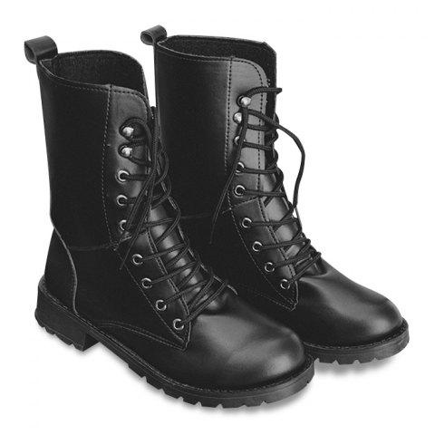Fashion Faux Leather Lace Up Mid Calf Boots