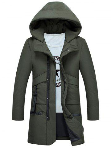 Trendy Multi Pockets Zip Up Hooded Puffer Coat