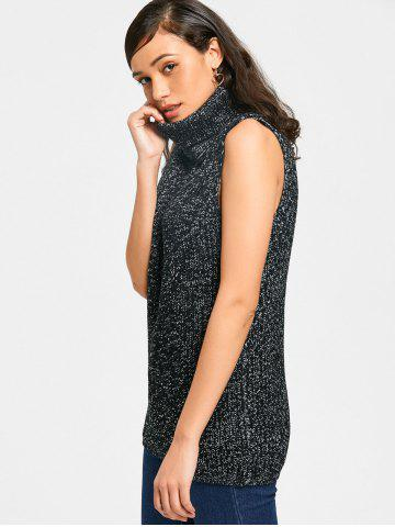 Turtleneck Chunky Heathered Sweater Vest