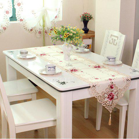 Affordable Embroidered Satin Jacquard Home Decorative Table Runner OFF WHITE  40*175CM