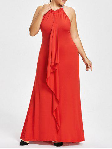 Red 4xl Plus Size Chain Embellished Draped Maxi Prom Dress | RoseGal.com