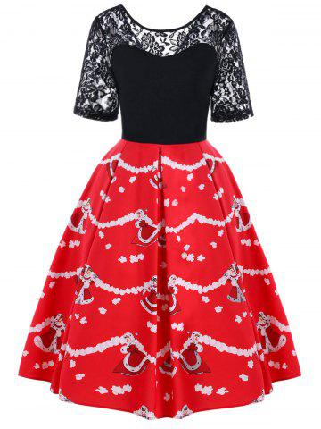 Christmas Lace Yoke Swing Dress