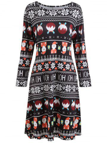 Shops Plus Size Christmas Printed Long Sleeve Dress