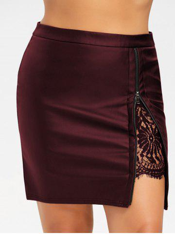 Best Plus Size Lace Panel PU Leather Skirt