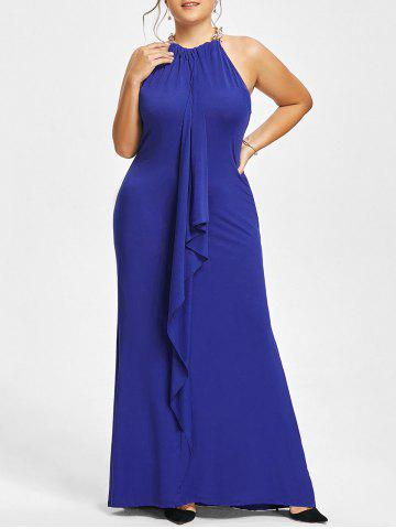 Discount Plus Size Chain Embellished Draped Maxi Prom Dress