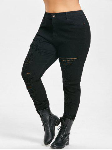 Hot Plus Size Slim High Waisted Ripped Jeans