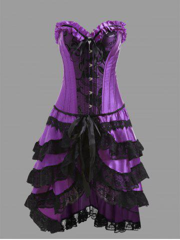 Outfit Underbust Corset with Flounce Lace Skirt