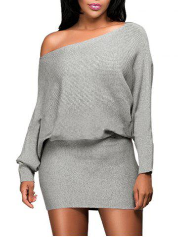 Outfit Dolman Sleeve Skew Neck Knitted Mini Dress