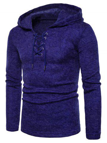 Fancy Hooded Lace Up Knitted Sweater