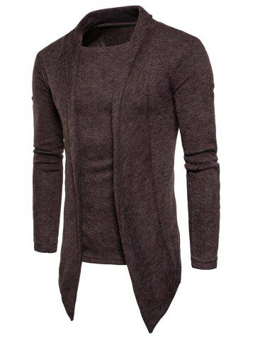 Outfit Faux Twinset Panel Asymmetric Knitted Cardigan