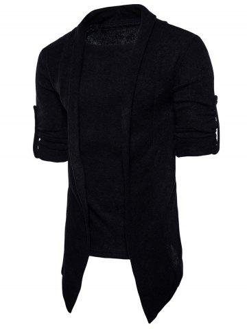 Store Faux Twinset Panel Asymmetric Knitted Cardigan