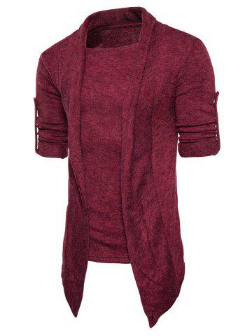 Outfits Faux Twinset Panel Asymmetric Knitted Cardigan