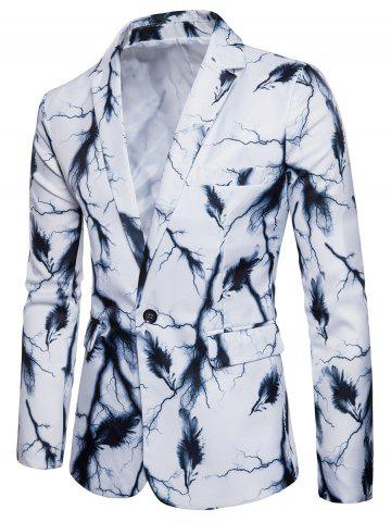 Unique One Button Lightning Feather Print Blazer