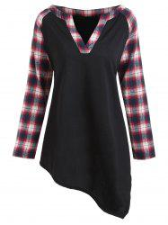 Plus Size Asymmetric Plaid Raglan Sleeve T-shirt -