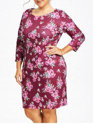 Plus Size Floral Printed Tight Dress -