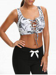 Abstract Printed Sports Cutout Lace Up Bra -