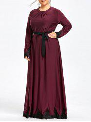 Plus Size Lace Trim Maxi Dress with Long Sleeve -