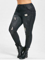 Plus Size Slim Patches Distressed Cigarette Jeans -