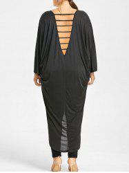 Plus Size Cutout V Back High Low Tunic Top -
