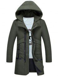 Multi Pockets Zip Up Hooded Puffer Coat -