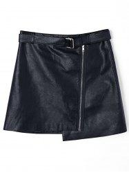 Belted Zipper Up Faux Leather Mini Skirt -