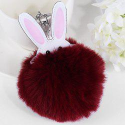 Cute Artificial Leather Fuzzy Rabbit Keyring -