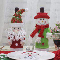 Santa Claus and Snowman Shape 2Pcs Winebottle Covers