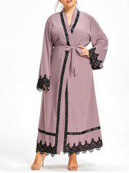 Plus Size Lace Panel Maxi Robe Coat with Belt -