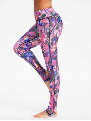 High Rise Sports Pattern Stirrup Leggings -
