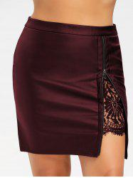 Plus Size Lace Panel PU Leather Skirt -
