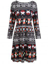 Plus Size Christmas Printed Long Sleeve Dress -