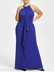 Plus Size Chain Embellished Draped Maxi Prom Dress -