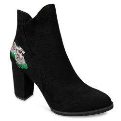 Floral Embroidery High Heel Boots -